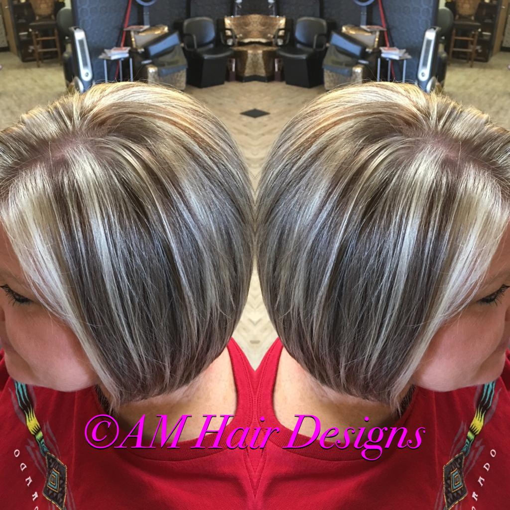 Platinum highlight and natural lowlight angled bob short hair AM Hair Designs at Star Image