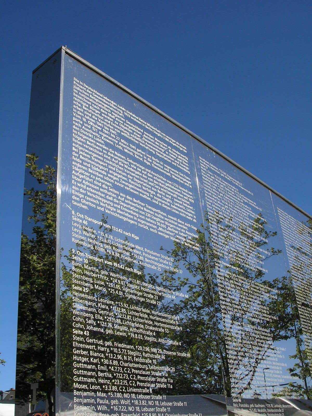 Spiegelwand denkzeichen in steglitz holocaust memorial for Küchenstudio berlin steglitz