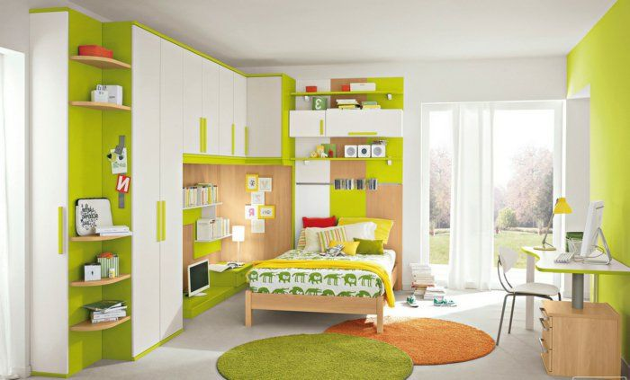 jugendzimmer gestalten ideen in wei und gr n deko runde teppiche orange und gr n gelbe decke. Black Bedroom Furniture Sets. Home Design Ideas