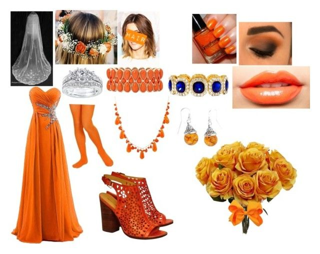 """Rainbow Wedding #2: Orange"" by dragonowl ❤ liked on Polyvore featuring Kobelli, Rebecca Minkoff, Liz Claiborne, Monet, Be-Jewelled, Nearly Natural, women's clothing, women's fashion, women and female"