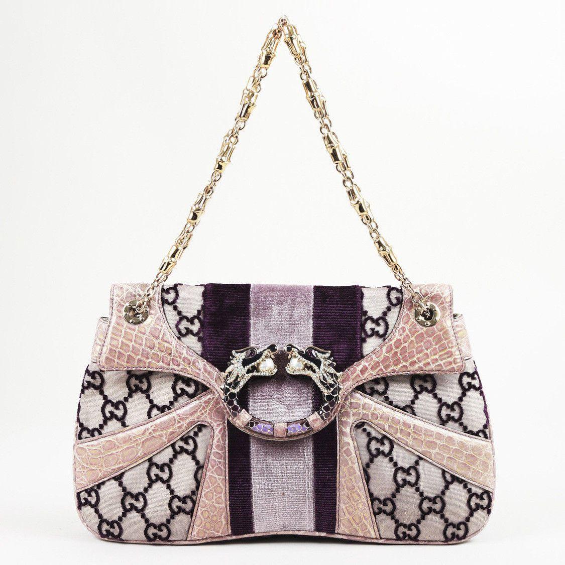 2a46325c6a3 Gucci Limited Edition Monogram Velvet Snakeskin Dragon Bag