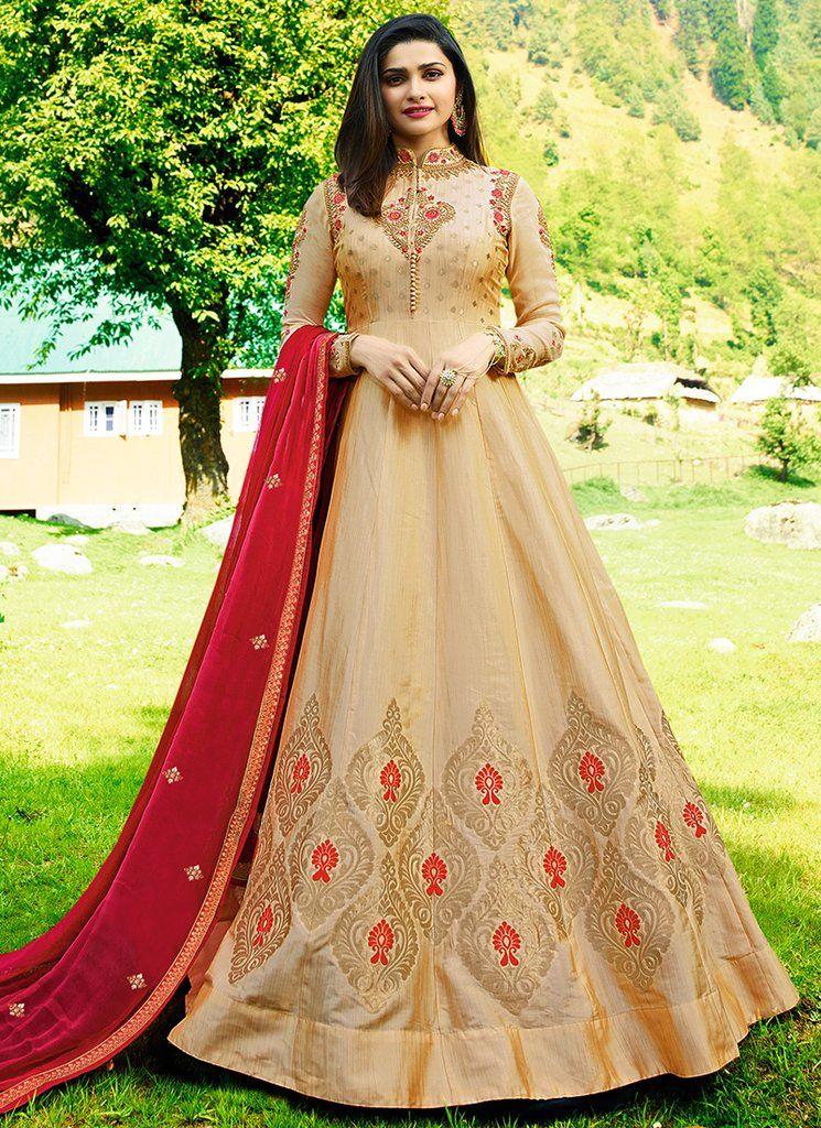 292b82cd43 Golden Beige and Red Embroidered Silk Anarkali | Wedding | Pinterest ...