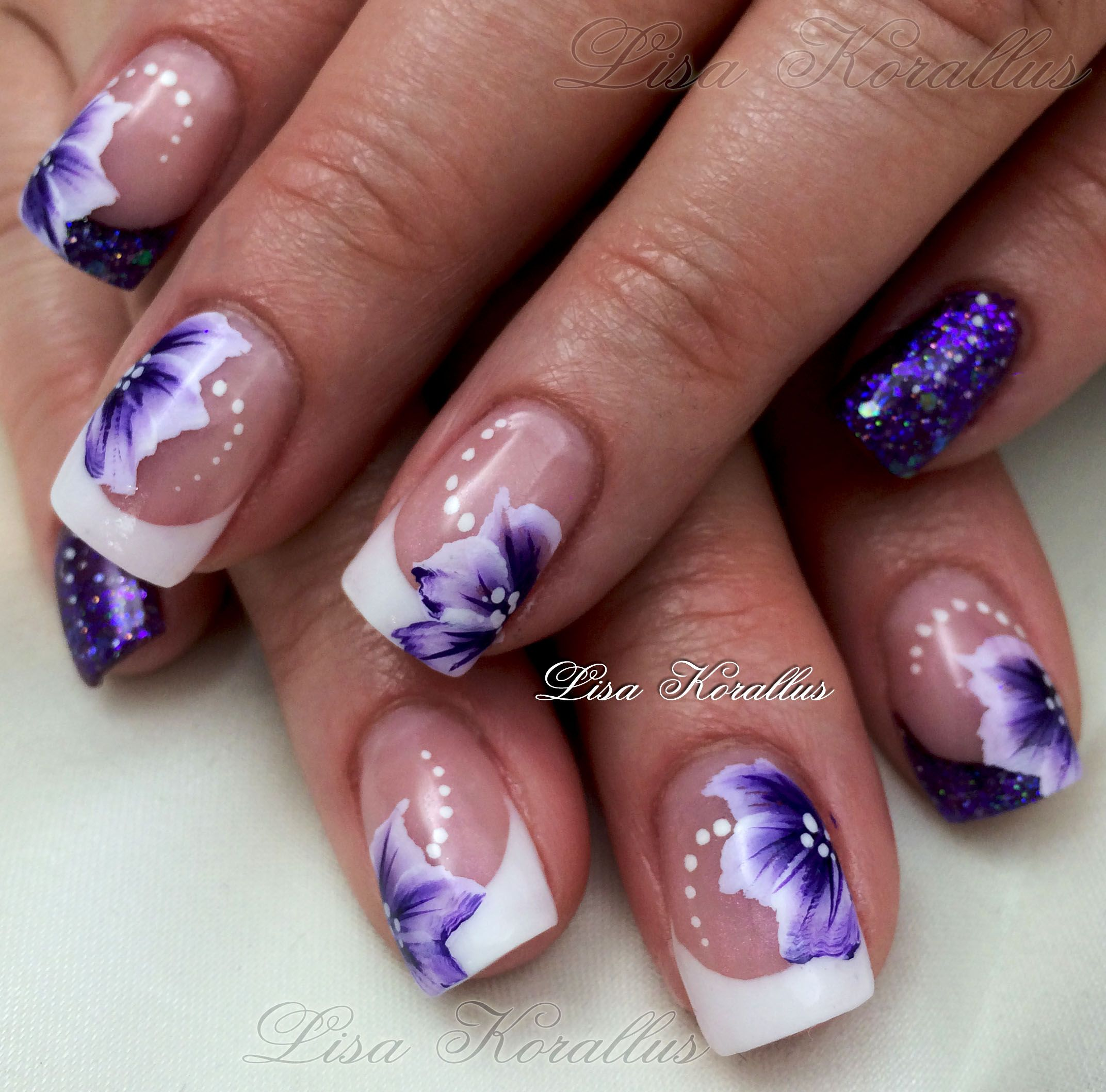 Gel Overlay With Hand Painted Flowers Floral Nail Designs Nail Art Designs Nail Designs