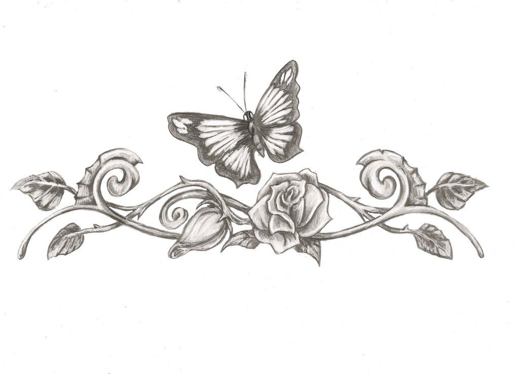 butterfly rose tattoo designs butterfly eith rose tattoo