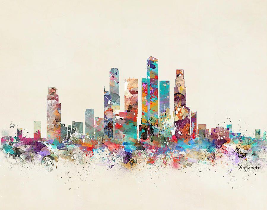 Singapore City Skyline City Skyline Art Skyline Art Art