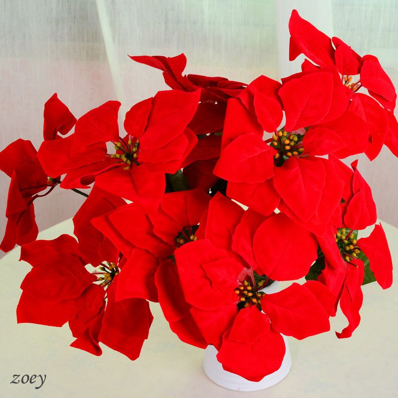 5 Branches 1 Bouquet Artificial Plastic Poinsettias Euphorbia Pulcherrima Willd Christmas Silk Flowers Wedding Wedding Flower Decorations Red Christmas Flower