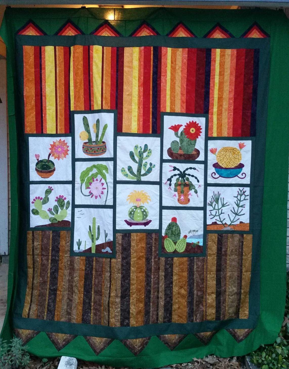 Cactus Quilt Applique Blocks Were From A Block Of The Month At My