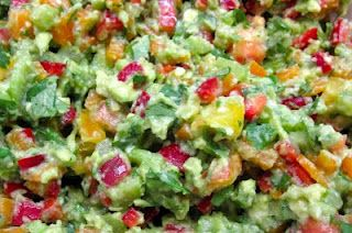 Garden Guacamole (Recipe, Raw, Vegan, Organic), Lower In Fat, Kristen's Raw, avocado, bell pepper, heirloom tomato, celery, cilantro, fresh.
