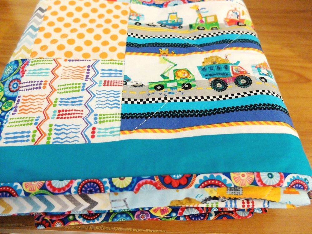 Patchwork Quilt, boy's cot quilt, truck and car blue quilt ... : patchwork quilts for boys - Adamdwight.com