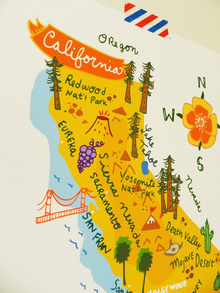 Map 0f California.California Illustrated 8 X10 Map Illustrations Travel Maps