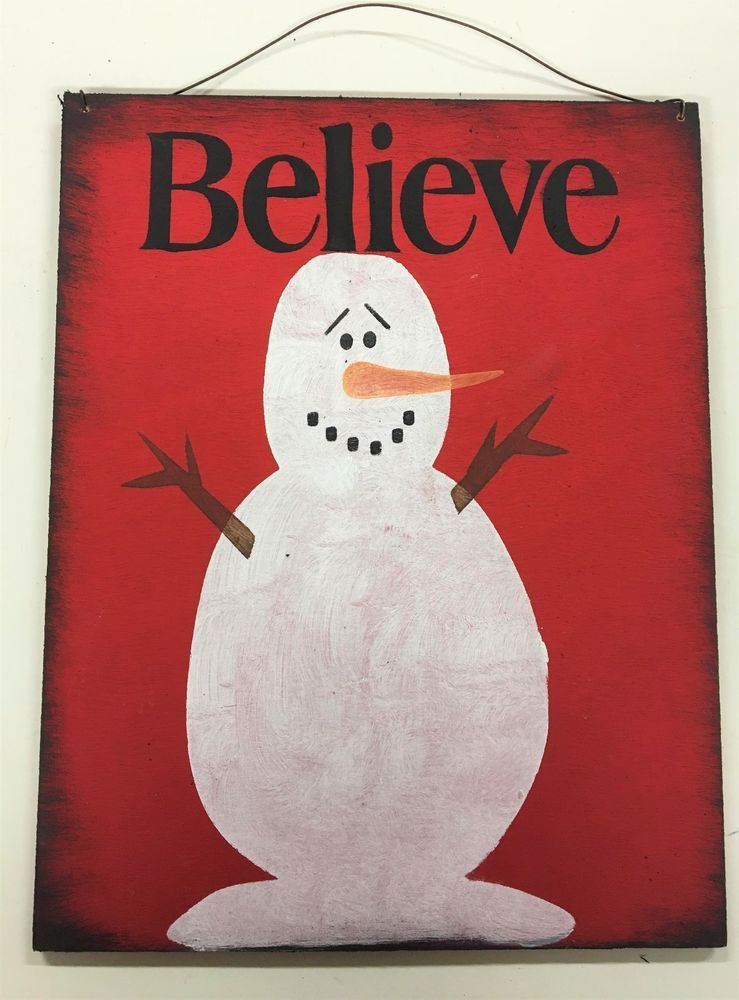 Details about snowman believe christmas stenciled wall art sign country winter home decor red is part of Winter decor Signs -