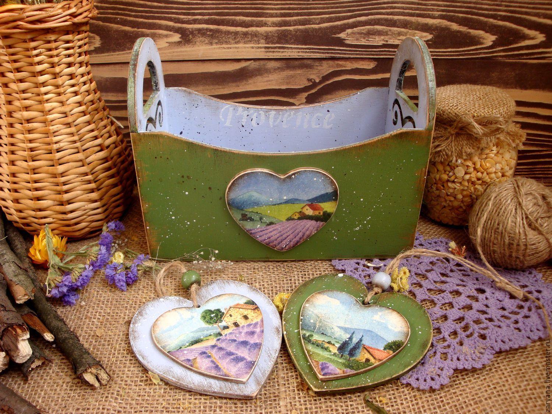"""Купить Короб и подвески """"Лето в Провансе"""" - комбинированный, прованс, лаванда, зелены, лавандовый, лавандовый цвет"""