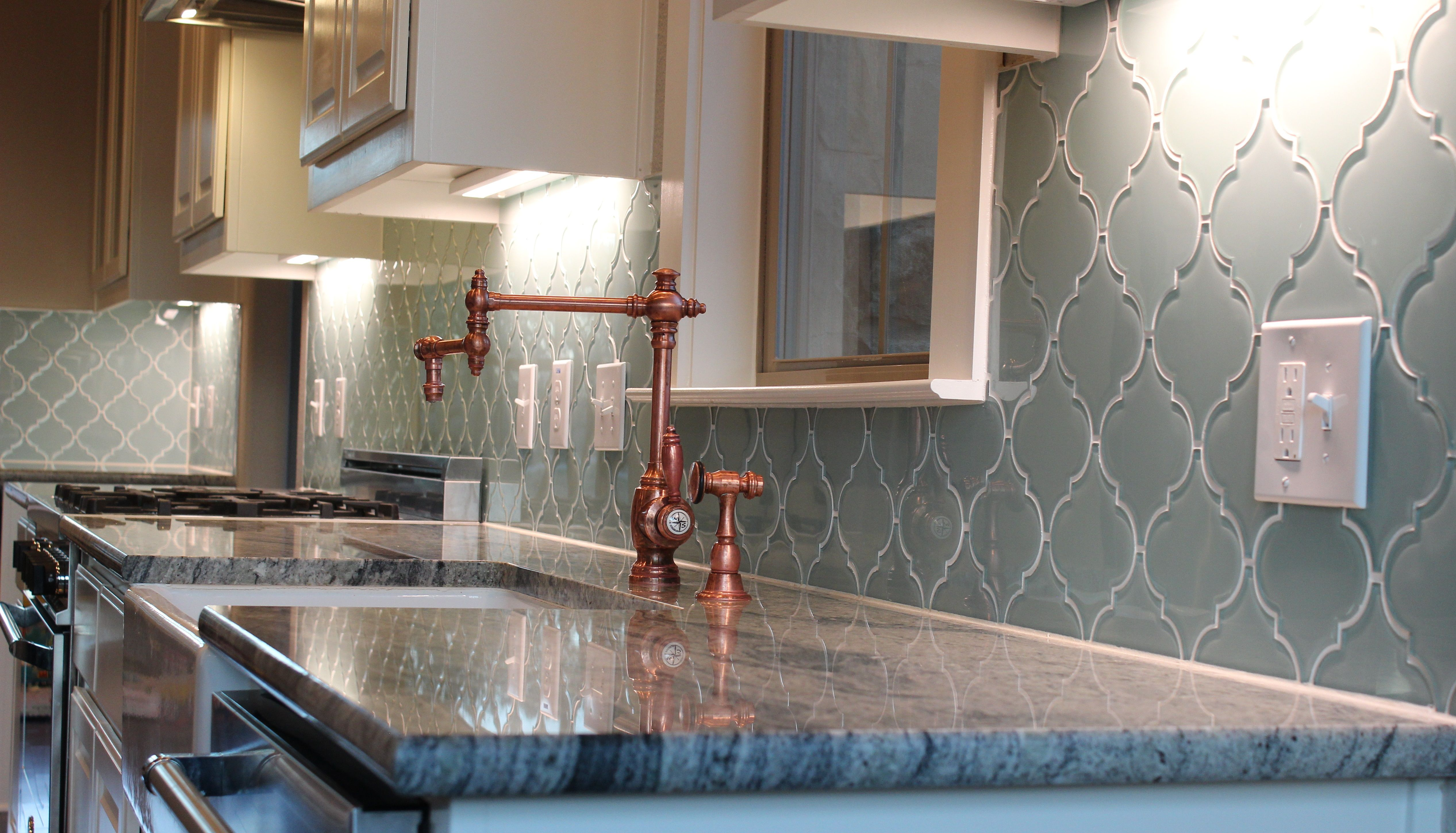 Rocky Point Tile Seafoam Arabesque Glass Mosaic Tiles for $23 99 sq ft Check