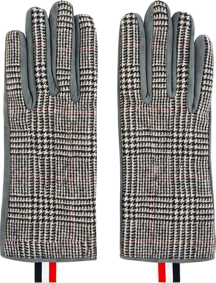 Thom Browne: Grey Houndstooth Gloves