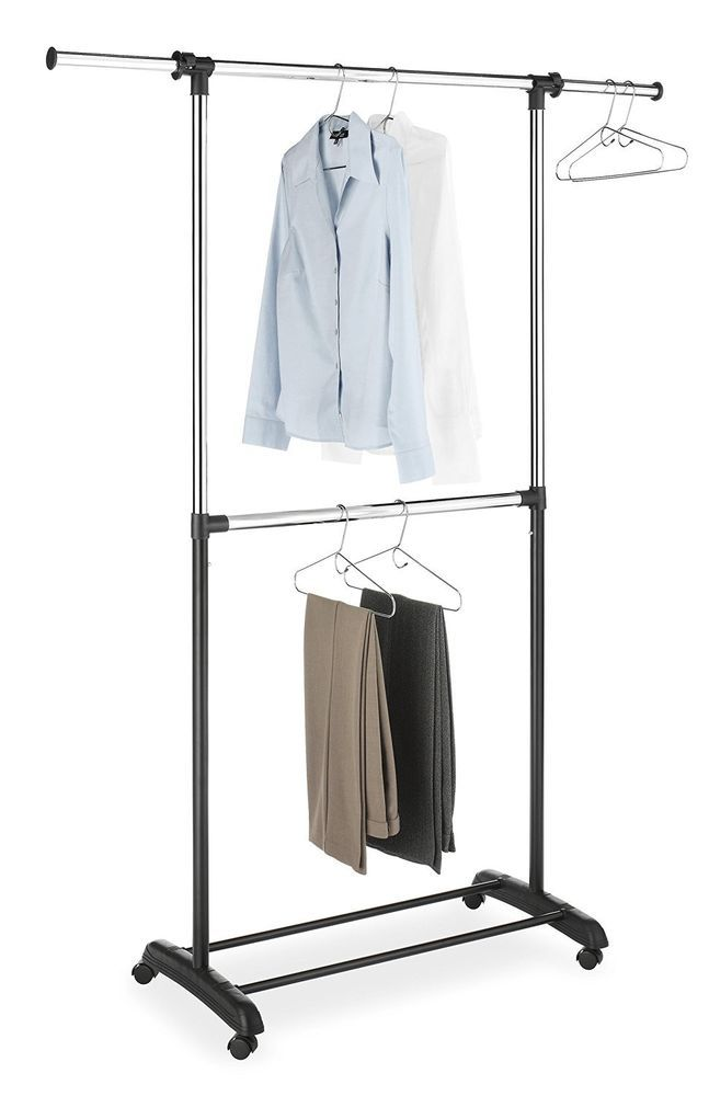 Rack Garment Clothes Hanger Portable Rolling Adjustable Closet Organizer Shelf Whitmor Rolling Clothes Rack Whitmor Clothing Rack