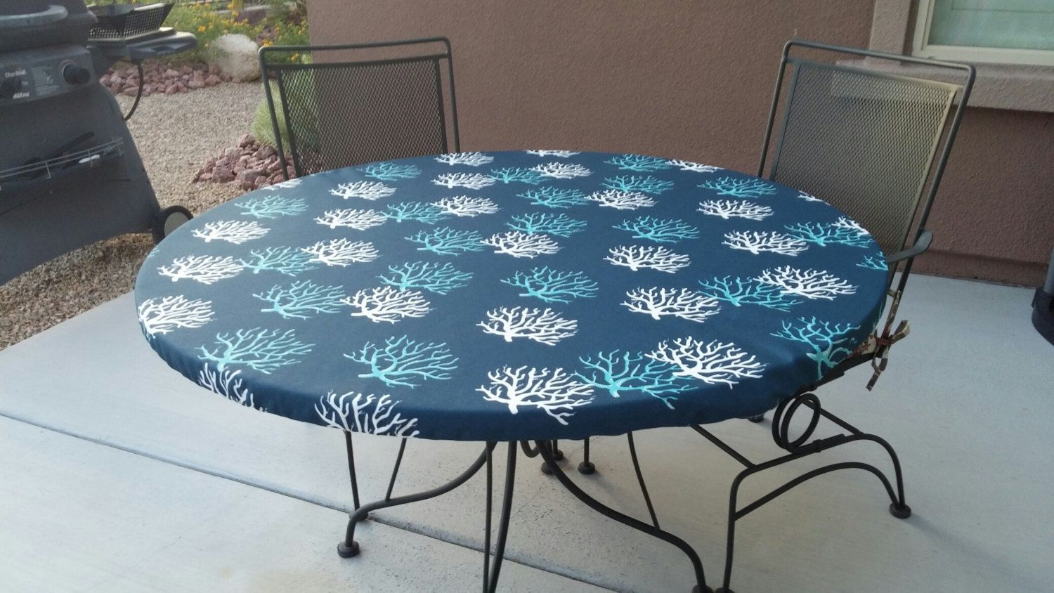 Round Fitted Tablecloth In Navy Teal And White Outdoor Fabric