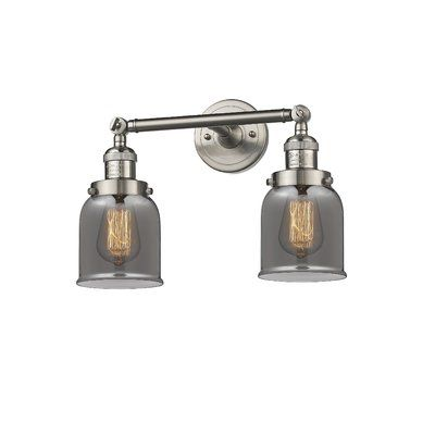 """Photo of Lythragkomi 2-Light Dimmable Armed Sconce Finish: Brushed Satin Nickel, Shade Color: Smoked, Size: 10 """"H x 16"""" W"""