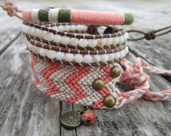 coral, grey, and beige leather wrap bracelet studded friendship bracelet