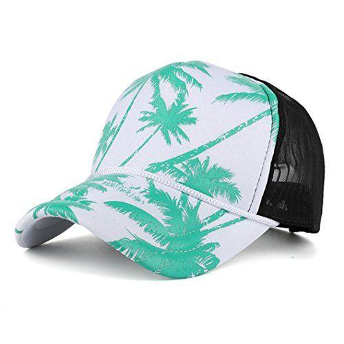 9516180b923 Qingfan Unisex Cool Snapback HatsCoconut Tree Printed Flat Bill Hats  Adjustable Baseball Cap Green     Want to know more