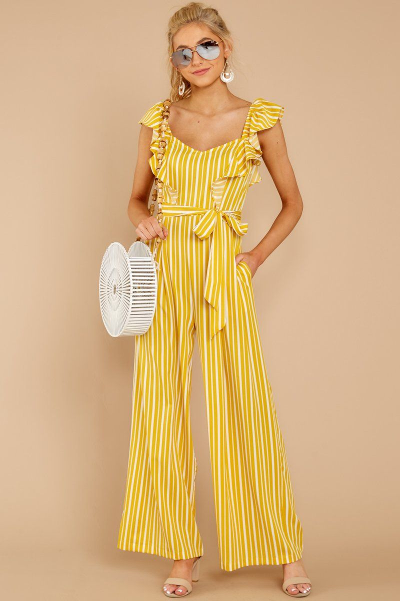 c3e6a384c6c Chic Yellow Striped Jumpsuit - Flowy Ruffled Jumpsuit - Playsuit -  48 –  Red Dress Boutique