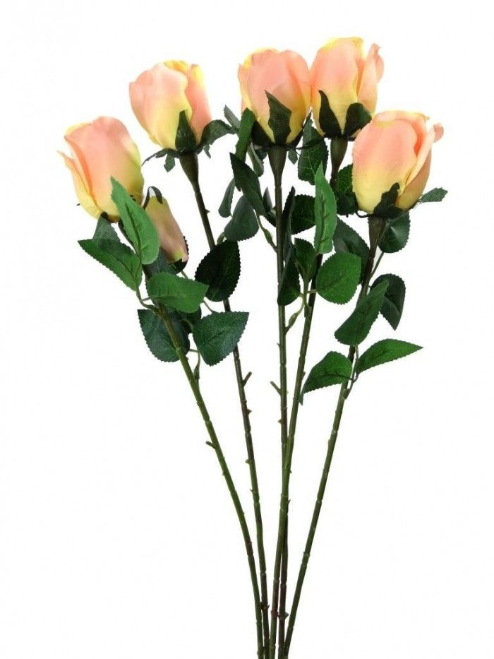 Synthetic Single Rose Peach Flowers Online Flower Decorations Peach Roses