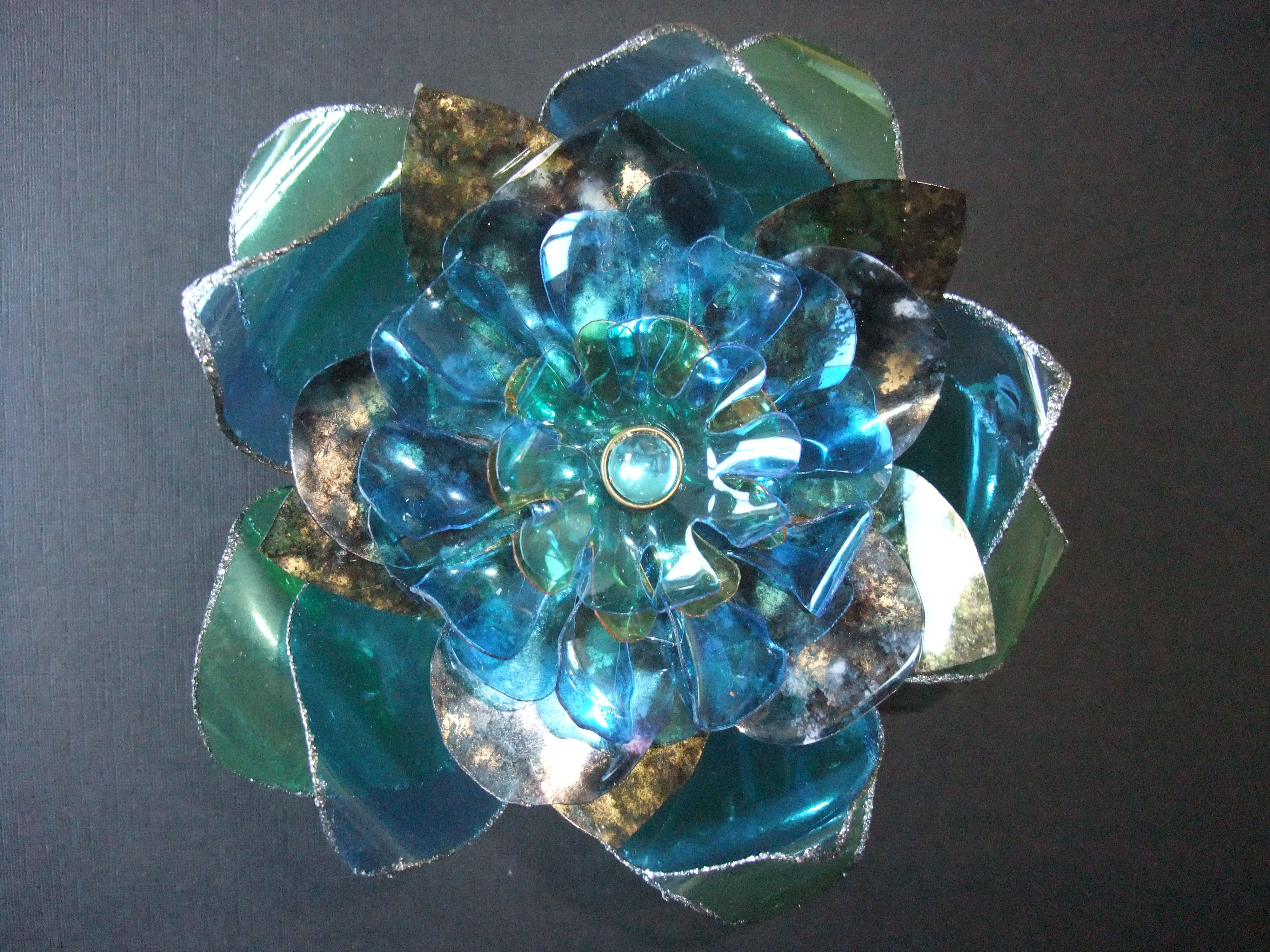 Faux glass window flower made from recycled plastic bottles