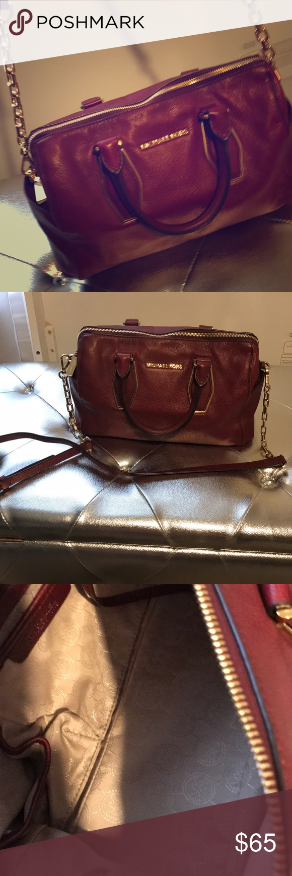 f1f618337b MK burgundy bag. Very clean Burgundy Small MK bag. Very well kept. No  damage to the leather. Small stain inside as shown in picture.