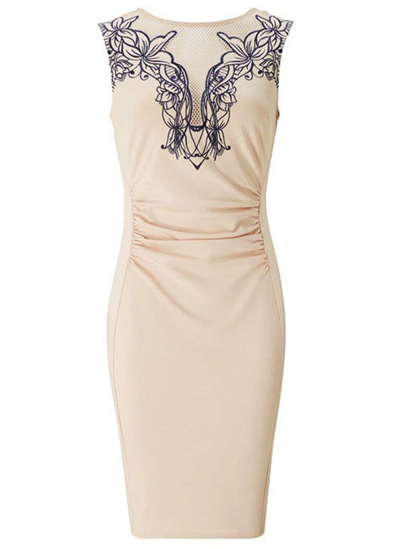 Embroidered Front Ruched Bodycon Mini Dresswork Dressdressessexy