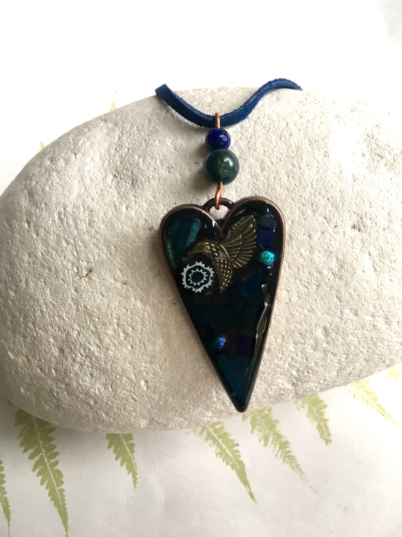 Blue Hummingbird Glass Tile Pendant Necklace Art necklace Jewelry