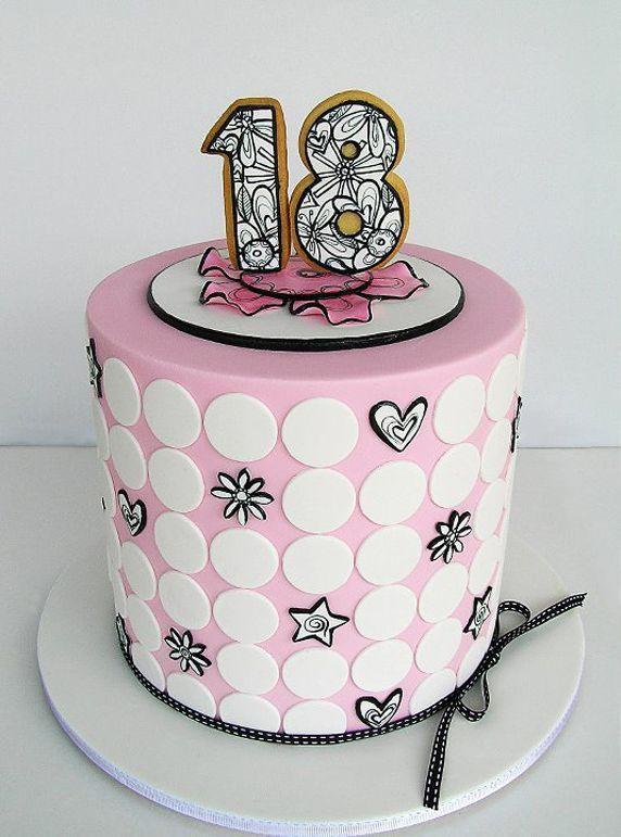 Pretty Pink Black 18th Birthday Cake Birthday Cakes Pinterest