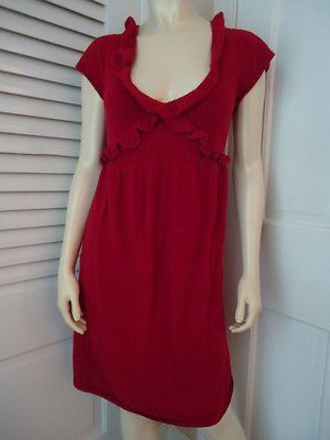 KNITTED KNOTTED ANTHROPOLOGIE Dress S Red Sweater Knit Rayon Wool Cashmere Blend