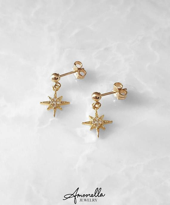 1b623fef7 Tiny North Star CZ Earrings* 14k Gold or Rose Gold Filled,Sterling Silver * small dainty little spike