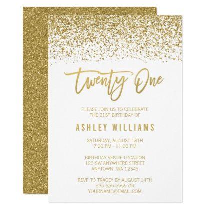 Modern White Gold Faux Glitter 21st Birthday Card Invitations