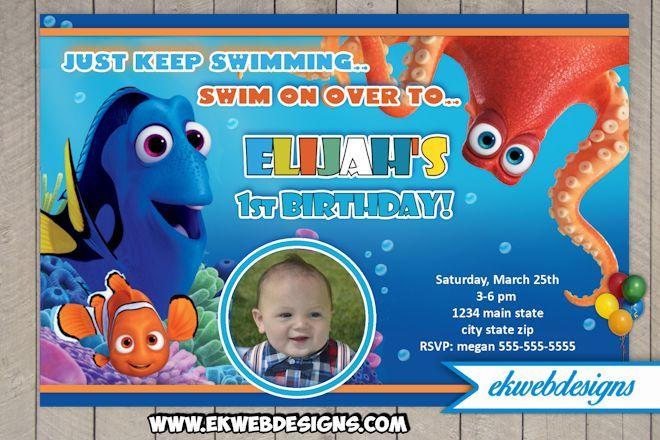 Custom Finding Dory Birthday Invitation Finding Nemo Birthday