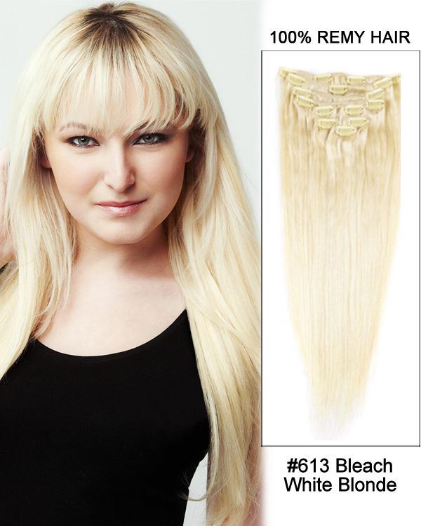 16 Inch 7pcs Straight Brazilian Clip In Remy Hair Extensions 613