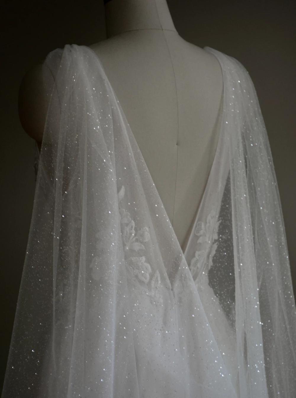 Vega Sparkling Bridal Cape Sparkle Wedding Dress Bridal Cape Cape Wedding Dress