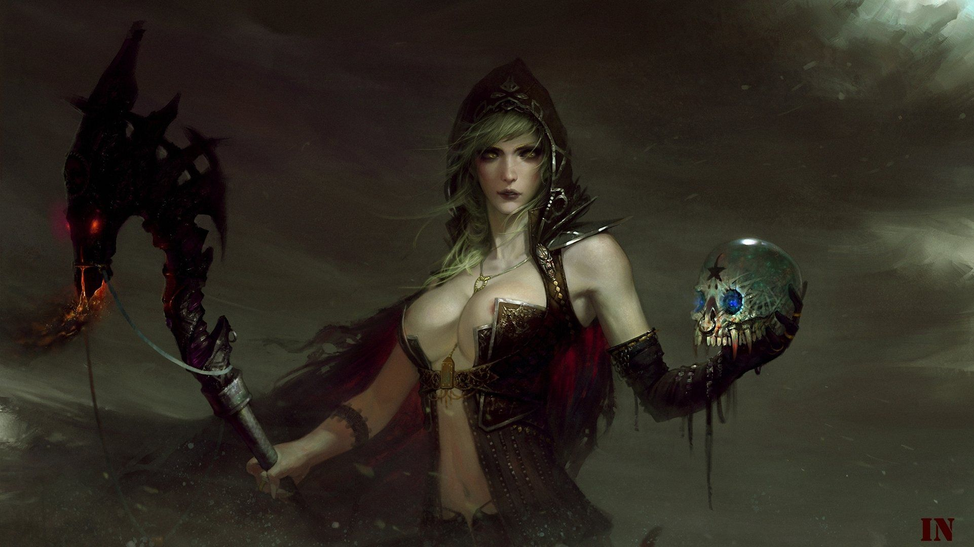 Magic Skull Gothic Mage Staff Hood Headgear Fantasy Girls