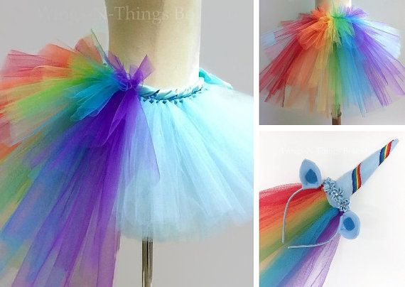 c0f5ee80b RAINBOW UNICORN COSTUME, Custom Colors, Tutu Skirt 2pc Set w/ Bustle ...