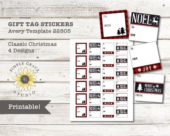22805 Template | Classic Christmas Christmas Gift Tag Stickers Avery Template