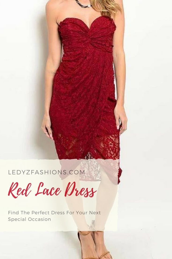 Late night special strapless burgundy red lace dress strapless