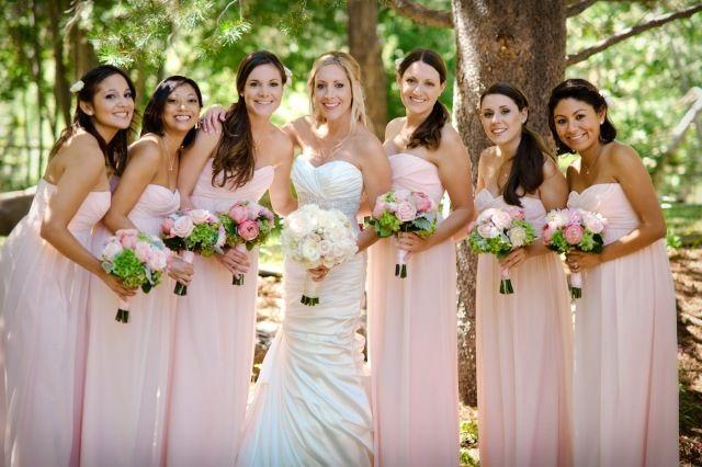 rosa zart nuance lange Brautjungfernkleider schulterfrei