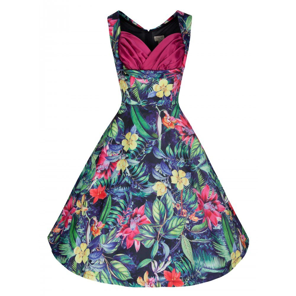Ophelia' Tropical Pink Rainforest Print Swing Dress | Vintage ...