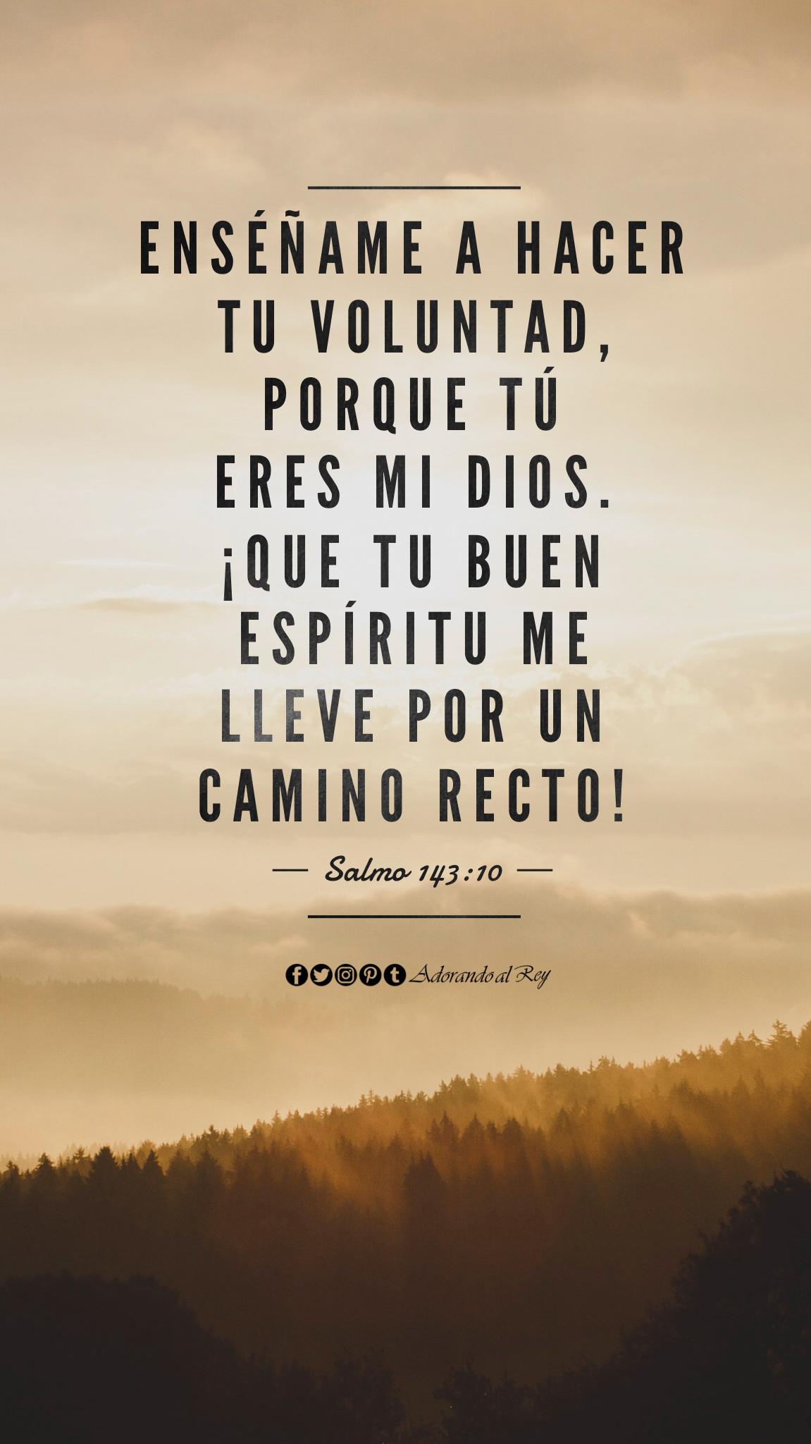 Enséñame a hacer tu voluntad, porque tú eres mi Dios. ¡Que tu buen espíritu me lleve por un camino recto! (Salmo 143:10) #CitasBiblicas #VersiculodelDia #Salmos #Salmo 143 #AdorandoalRey