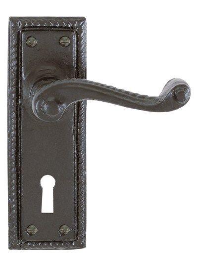 Antique Black Georgian Lever Traditional Keyhole Door Handle Set