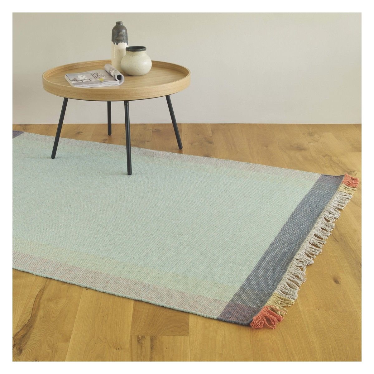 Borders Medium Pastel Hand Woven Wool Rug 140 X 200cm Soft Furnishings Rugs Wool Rug