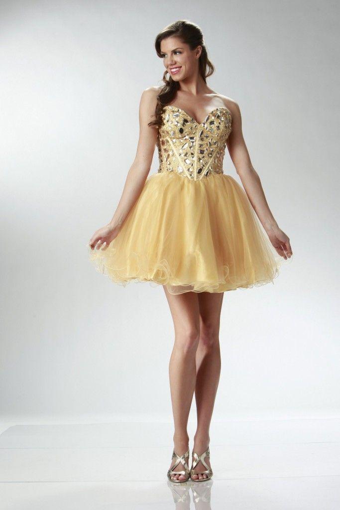 strapless sweetheart short gold prom dresses | Prom Dresses ...