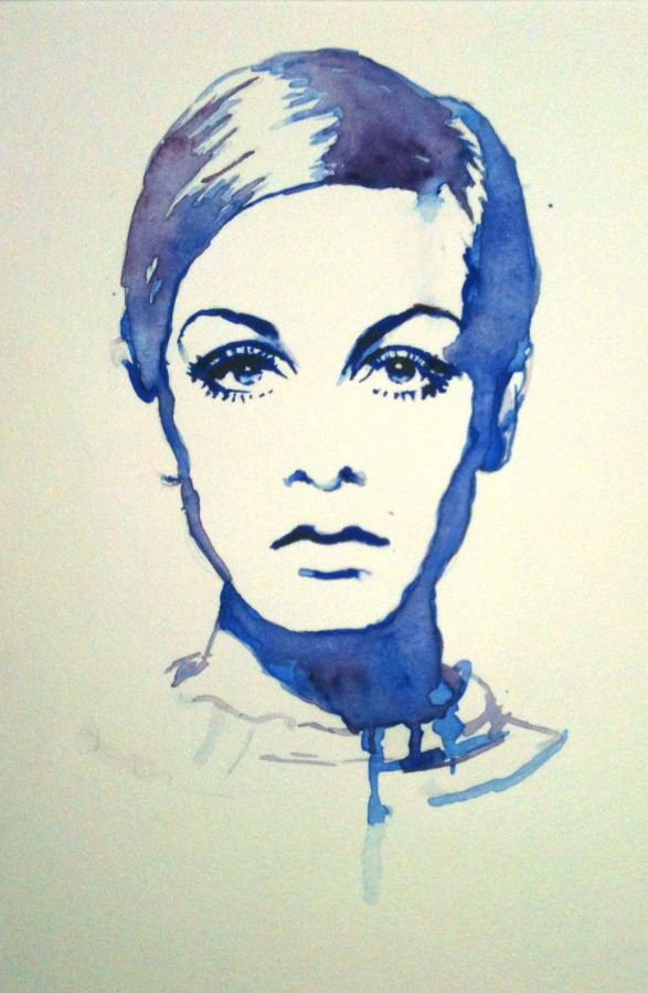Twiggy Watercolor Portraits Pop Culture Art Sketches