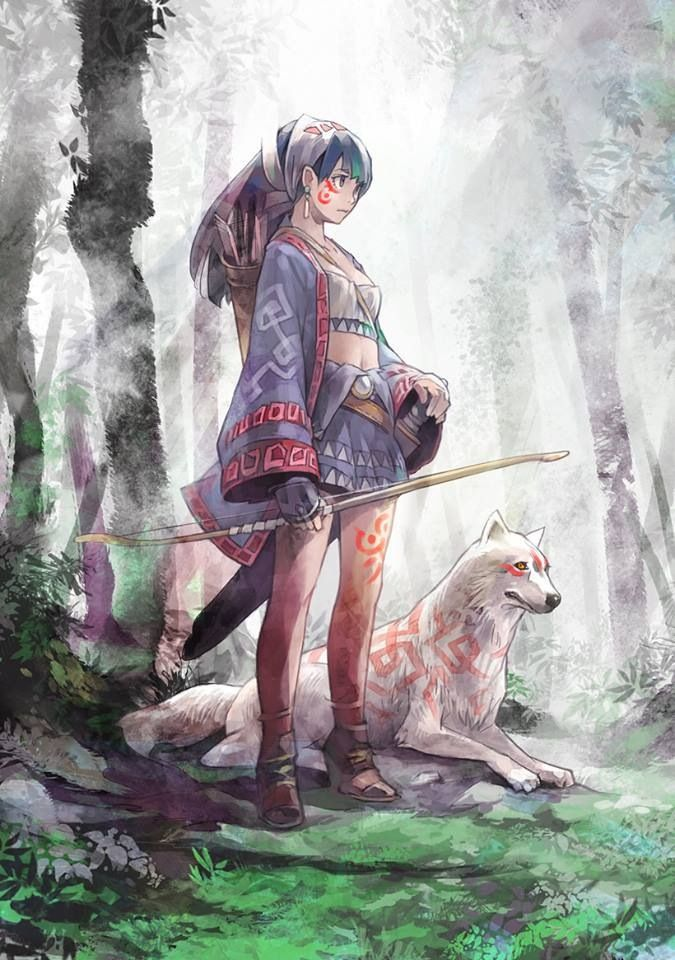 Japanese Anime Illustration Art Anime Wolf Girl Character Art Animation Art