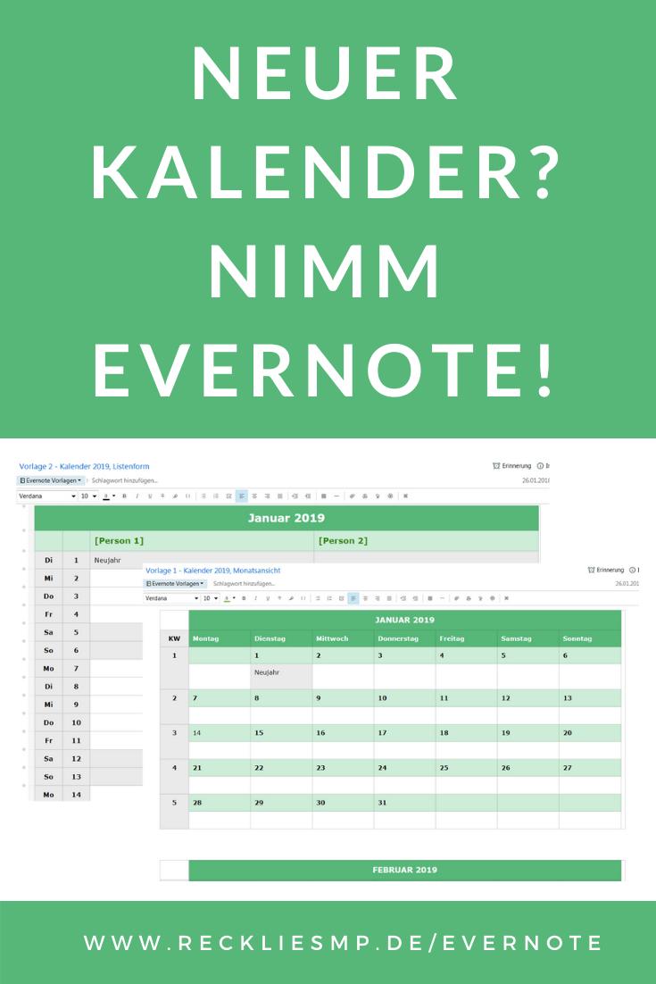 Evernote Als Kalender Benutzen Mehr Effizienz Mit Vorlagen Evernote Vorlagen Zeitmanagement