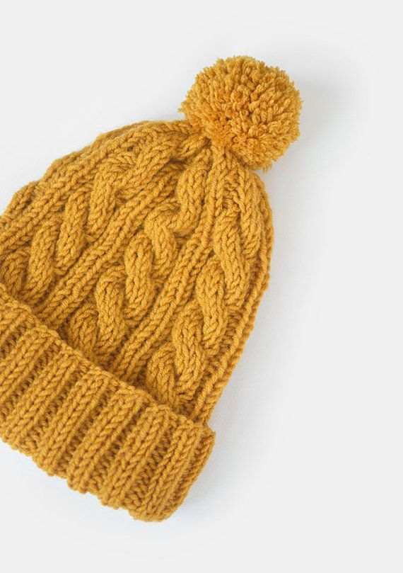 b58d67cf3bc04 Hand Knit Beanie in Mustard Yellow Cable Knit Womens Winter